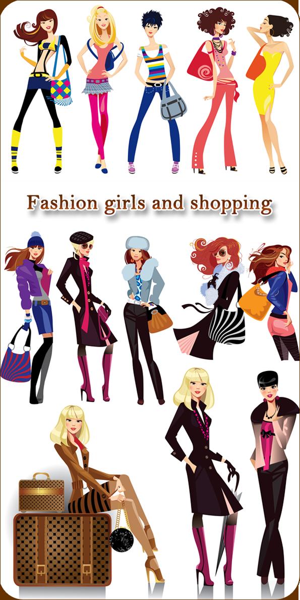 Fashion girls and Shopping. Гламурные девушки  и шоппинг в векторе