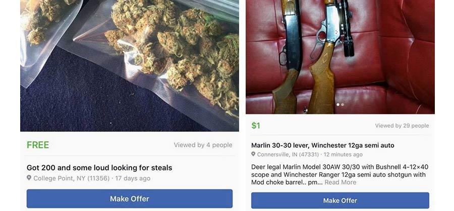 Торговая площадка Facebook продаёт людей, оружие и наркотики