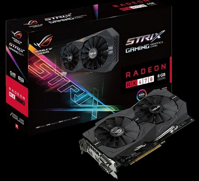 ASUS выпускает две видеокарты Strix Radeon RX 470 с 8 Гб памяти