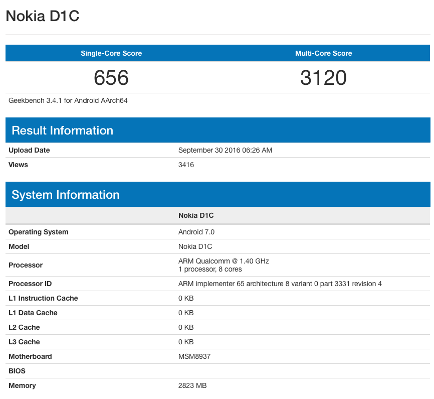 Смартфон Nokia D1C засветился в бенчмарке Geekbench