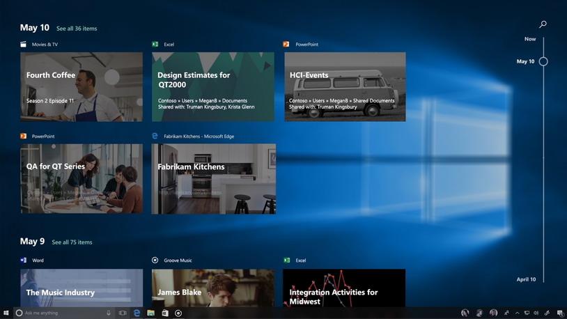 Windows 10 с функцией Timeline запоминает все проекты пользователя